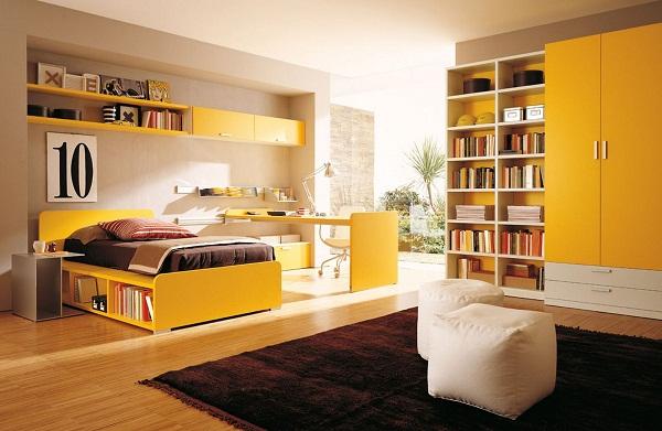 Nội thất phòng ngủ nhiều màu sắc tươi sáng