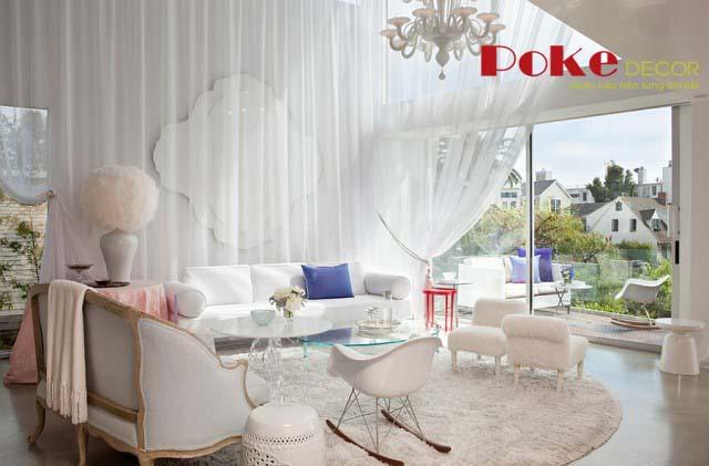 Thiết kế nội thất phòng khách lãng mạn tinh tế