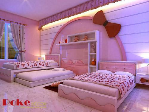 Phòng ngủ màu hồng đáng yêu cho bé gái