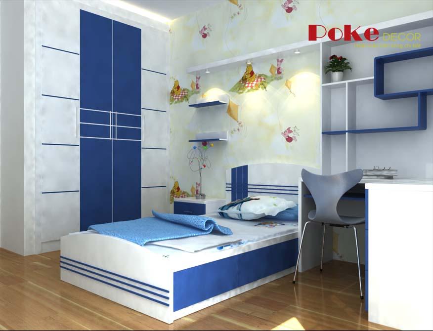 Ý tưởng thiết kế nội thất phòng ngủ màu xanh cho bé trai