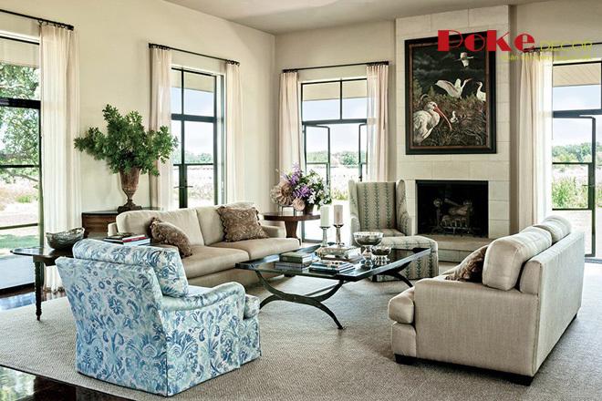 Thiết kế nội thất phòng khách theo phong cách đồng quê