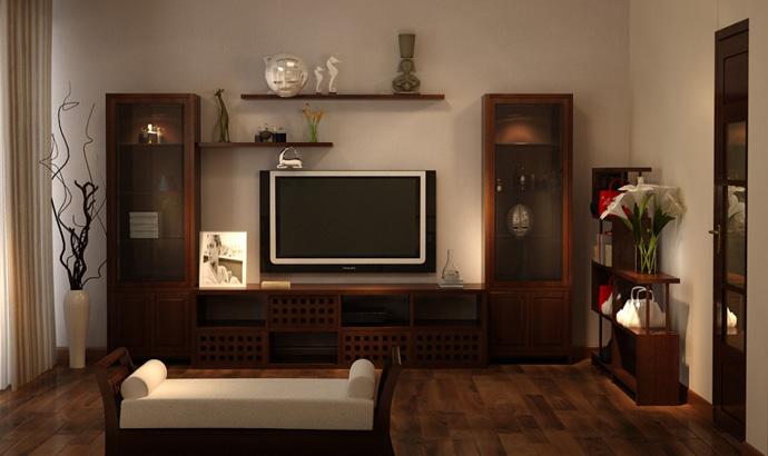 Phòng khách đẹp xinh và sang trọng với nội thất đồ gỗ